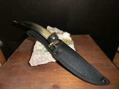 Polished Buffalo Horn, Mirror Polished Stainless Steel Hunting/Skinner Knife, Custom File Work, fitted sheath.