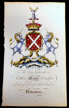 Coat of arms of Other Lewis Windsor (1731–1771), 4th Earl of Plymouth (E 1682), Joseph Edmondson's Baronagium Genealogium, London, 1764-1784.
