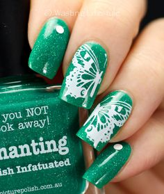 Picture Polish 'Enchanting' stamped with butterfly image from HeHe 04 plate using Konad white polish ~ by Wasting Lifestyle