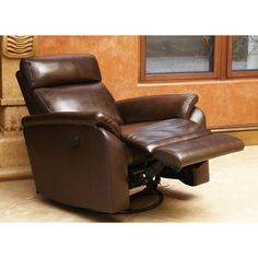 ABBYSON LIVING Bella Top Grain Power Swivel Recliner