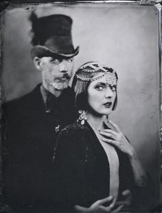 Christopher Wonder, Magician and Cleo Clara, Burlesque Dancer Los Angeles, 10.2013 half plate tintype