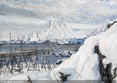 Mild Lofotvinter by Karl-Erik Harr Painting Collage, Paintings, Scandinavian Art, Winter Is Coming, Norway, Watercolor, Contemporary, Mountains, Outdoor