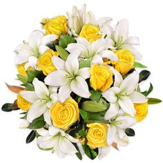 Perfect wedding bouquet! White lilies and yellow roses