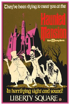 VINTAGE DISNEY COLLECTOR'S POSTER 12X18 - LIBERTY SQUARE - THE HAUNTED MANSION