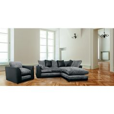 Recliner Sofa Dylan Corner Sofa in Black and Charcoal with Matching Armchair