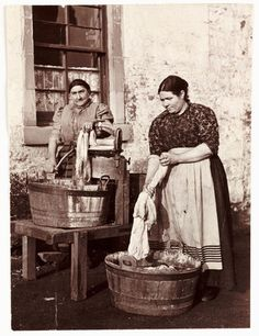 Two women washing clothes, c 1905. Frank Meadow Sutcliffe
