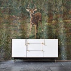 Bronze Bureau. Vintage Mural. | www.bocadolobo.com #interiordesign #deco r #moderncabinets #buffetdecor