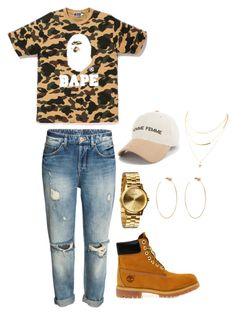 Untitled #3 by makiyahbramd on Polyvore featuring polyvore, fashion, style, A BATHING APE, Timberland, Nixon, Diane Kordas and clothing