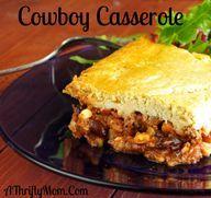 Cowboy Casserole, Money Saving Recipes, Ground Beef Recipes, Casserole Recipes corn bread mix on top? I Love Food, Good Food, Yummy Food, Beef Dishes, Food Dishes, Main Dishes, Hamburger Dishes, Dishes Recipes, Potato Recipes