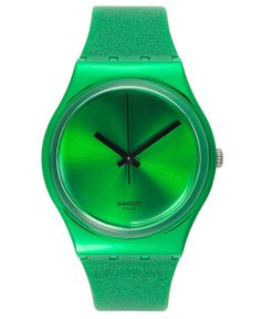 Swatch Watch, Unisex Swiss Deep Shine Green Glitter Green Silicone Strap 34mm GG213 - All Watches - Jewelry & Watches - Macy's