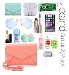 What's in my purse by americansouthernprepster on Polyvore featuring polyvore fashion style Kate Spade Ray-Ban Beats by Dr. Dre Benefit Lancôme Eos