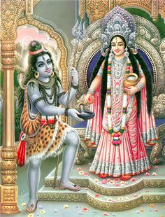 Annapurna Giving Alms to Lord Shiva - Hindu Posters (Reprint on Paper - Unframed) Shiva Parvati Images, Durga Images, Mahakal Shiva, Shiva Art, Hindu Art, Hanuman Images, Ganesh Images, Krishna Art, Indian Goddess