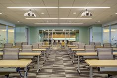 Milliken's Sound and Fury collection adds intrigue to this corporate training space.   Photo by Sherman Takata.