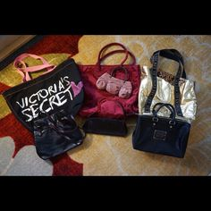 AWESOME 7 piece bundle VS bags! Bundle=20% OFF!! Great 7 piece bundle Victoria's Secret bags/purses! Most are in great gently used condition! Gold bag has some fading. Please ask questions if you have any before purchasing! Bundle 2 or more listings and save 20%! OR make me an offer!! Victoria's Secret Bags Totes
