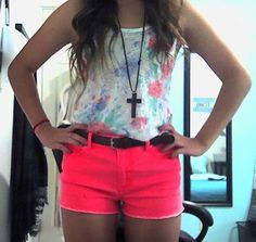 High fashion for a low price - Outfit total: $36 (outfit,style,fashion,high waisted shorts,shorts,coral,neon,pink,tank top,summer)