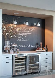 love this wine/ desserts area. lights hung on chalk board wall.