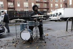 Questlove performing on his Breakbeats kit