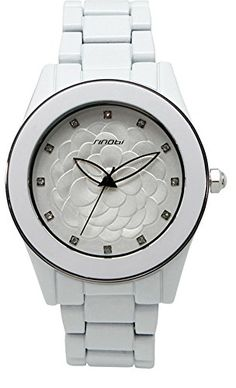 Fanmis Flower Dial Watch Rhinestone Imitated Ceramic Quartz Waterproof Ladies Watches White >>> You can find more watch details by visiting the image link.