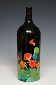 Kristin Otwell painted bottle 'nastursiums'