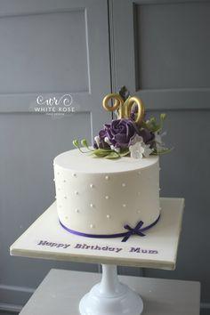 Pretty Photo of Birthday Cake Ideas . Birthday Cake Ideas Birthday Cake With Purple Flowers White Rose Cake Design 50th Birthday Cake For Women, Birthday Cupcakes For Women, 90th Birthday Cakes, White Birthday Cakes, Birthday Cake With Flowers, Birthday Cake Ideas For Adults Women, Rose Cake Design, Birthday Cake Pinterest, Birthday Cake Decorating