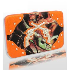 BNB Natural Camo Orange Camo Fashion Double Pistol Wallet With Rhinestones : Camouflage Wallets