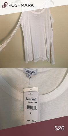 Cold shoulder white top size M Brand-new with tags's, splendid cold shoulder cotton top size medium Splendid Tops Tees - Long Sleeve