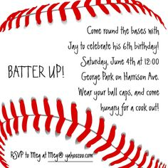 Baseball invitation i like the text on this one and borrowed some baseball invitation stopboris Images