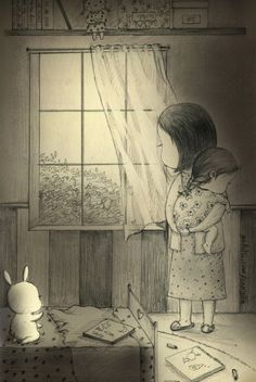 """After boiling fever has gone, still taking care of me to fall asleep. my mom""""s night. Sweet Drawings, Girly Drawings, Pencil Art Drawings, Art Drawings Sketches, Cute Illustration, Graphic Design Illustration, Dibujos Cute, Bunny Art, Cute Cartoon Wallpapers"""