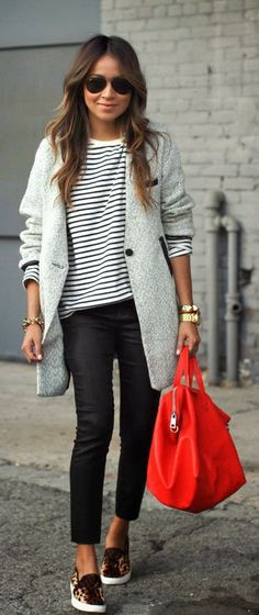 Long Coat With Black And White Strips Top- classic