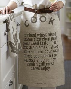 how to use a tea towel... studiopatro's COOK becomes an apron.