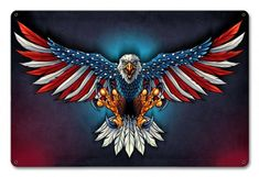 United States Bald Eagle with Flag Wings, Patriotic Art on metal sign, vintage style garage art wall decor fly043 by HomeDecorGarageArt on Etsy