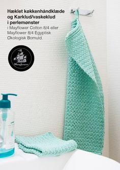 Gratis opskrift på smukke hæklet køkkenhåndklæder og vaskeklude i perlemønster. Lav smukke håndklæder og karklude i forskellige lækre farvevarianter.