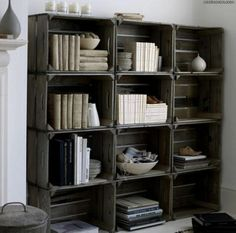 crate bookshelves 634x627  DIY Bookshelves : 18 Creative  Ideas and Designs