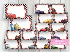 CARS 3 Party Food Labels, LARGE PACK, 16 Instant Download labels, Cars3, Cars printable food labels, Cars place cards, Cars name tags