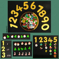 """Counting, number recognition and pattern work with Christmas erasers from Rachel ("""",)"""