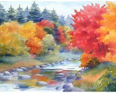 Autumn Landscape Fall Print 8x10 Watercolor Fine Art by Janet Zeh