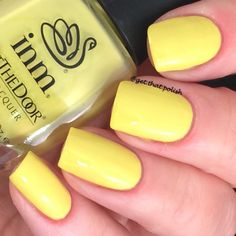 of INM nails Bananigans. Beauty Nails, Red Lips, Dark Red, Swatch, Nail Polish, Community, Yellow, Board, Nail Polishes