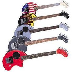 Today we will look at electric travel guitars. There are a lot of acoustic and acoustic/electric travel instruments, but for now we will mai. Unique Guitars, Vintage Guitars, Guitar Kits, Guitar Rack, Guitar Songs, Bass, Learn To Play Guitar, Classical Guitar, Types Of Music
