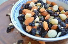 Makes 4 cups.  Serving size is a quarter cup. Feel free to be creative with other nuts, seeds, and dried fruits with this recipe to make it your own.  Appro
