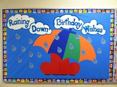 April Birthday Bulletin Board ~ Raining Down Birthday Wishes Preschool Birthday, Classroom Birthday, Birthday Wall, Birthday Board, Infant Classroom, Baby Birthday, Birthday Wishes, Birthday Ideas, Birthday Bulletin Boards
