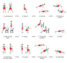 At home HIIT: do each exercise for 30 seconds, rest 10 seconds, then immediately move to the next. repeat cycle
