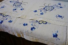 Antique Linen Tea Tablecloth with Blue Yellow by ScandicDiscovery