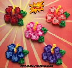 HIBISCUS, Flowers, Barrettes, Hawaiian, Tropical, Perler Beads