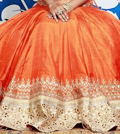 Orange Lehenga Set With Gota Patti