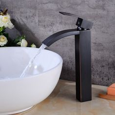 Oil Rubbed Bronze Waterfall Bathroom Sink Faucet Vessel One Hole/Handle Tap 705586559675 Bronze Bathroom, Bronze Bathroom Faucets, Sink Taps, Bronze, Bronze Bathroom Sink, Bathroom Sink Faucets, Oil Rubbed Bronze Bathroom, Sink, Brass Sink