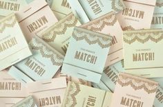 Twig & Thistle Creates Adorable Matchbook Save the Dates Cards #savethedatecards #weddinginvitations trendhunter.com