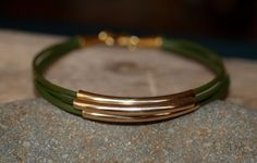 Olive Leather Gold Tube Bracelet by ROSjewelrydesign on Etsy