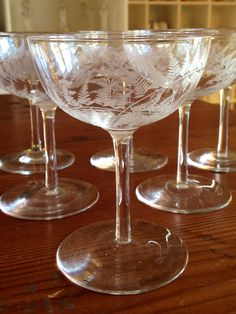 25811adc9b26 Six champagne saucers with fern engraved decoration. You could create a nice  set as we also have port glasses to match and a Victorian water jug