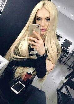 Long beautiful blonde hair fixation