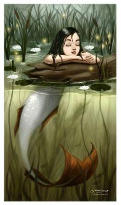 River Mermaid by ~melaniey Digital Art / Drawings & Paintings / Fantasy ~melaniey Fantasy Mermaids, Mermaids And Mermen, Drawings Of Mermaids, Art Drawings, Magical Creatures, Sea Creatures, Fantasy Kunst, Fantasy Art, Merfolk